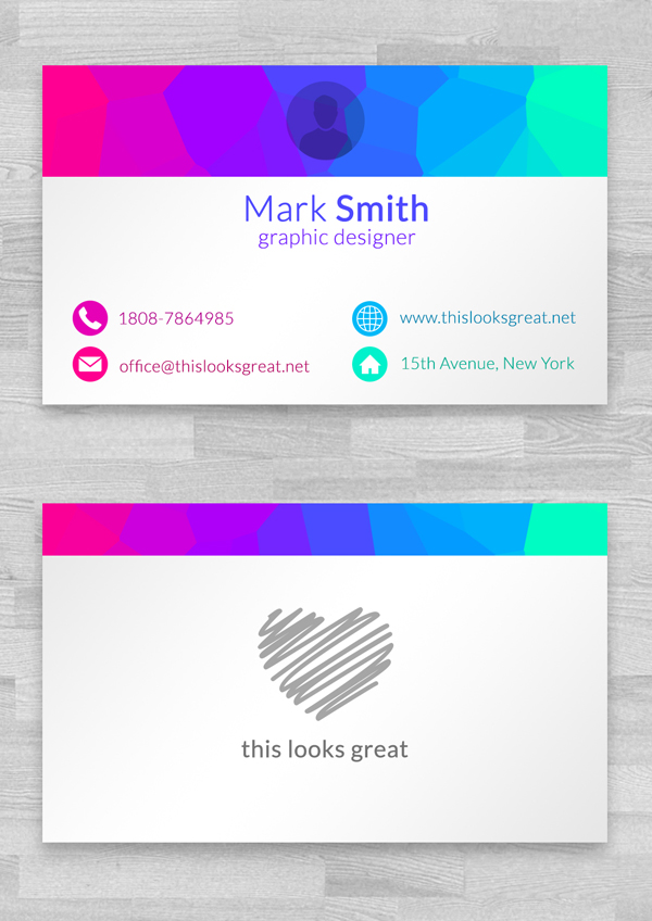 Free Colored Business Cards Template