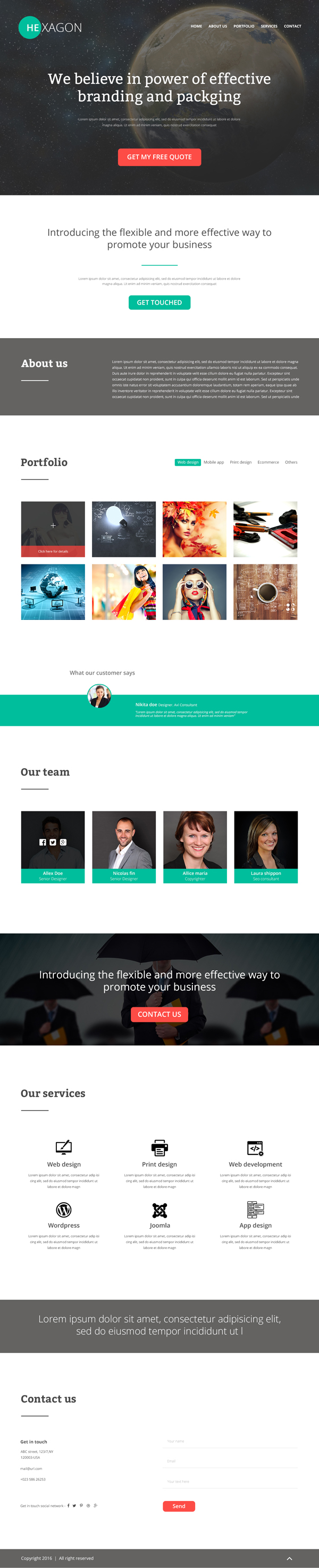 Free Hexagon Portfolio PSD Website Template