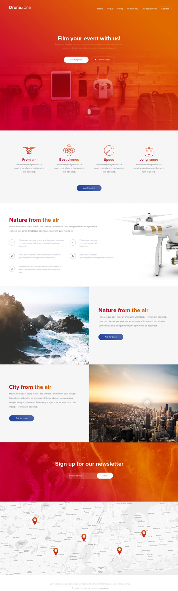 drone zone free psd website template - Free Web Templates