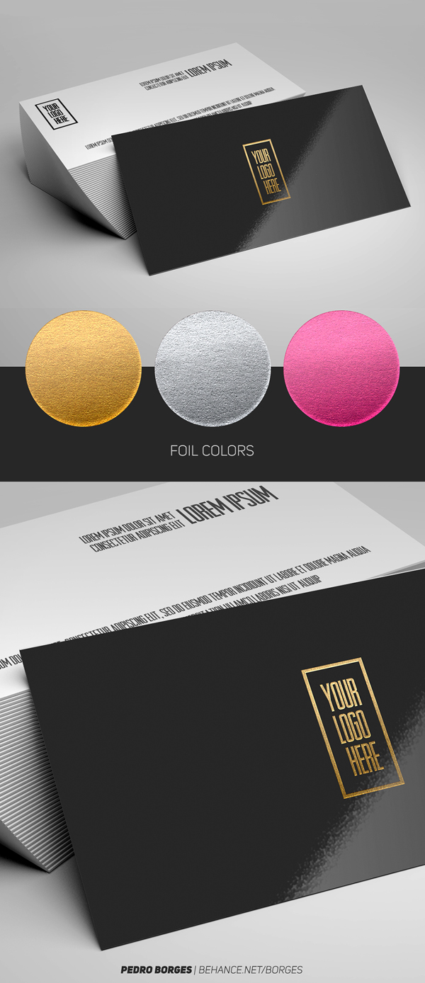 Free Business Card Foil Mockup