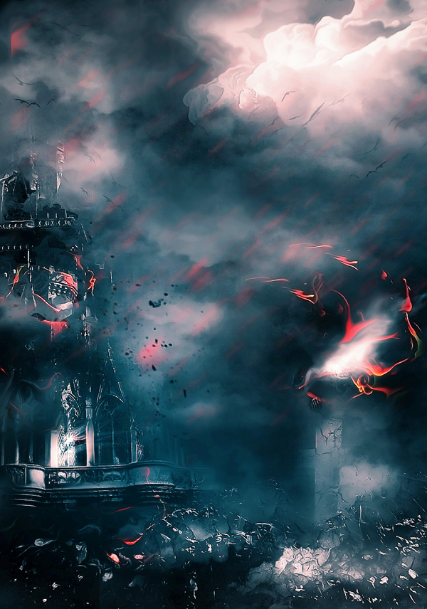 Create Castle Under Dark Force Photo Manipulation Scene In Photoshop