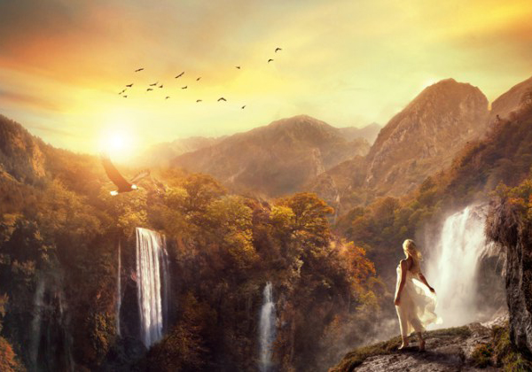 Create This Surreal Scene of Waterfall Mountains with Adobe Photoshop