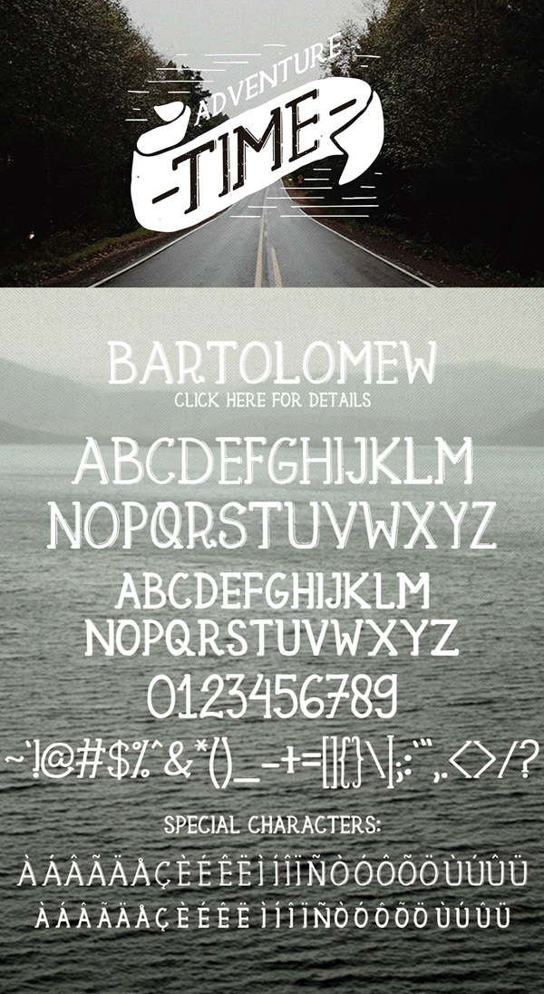 Bartolomew Free Hipster Fonts and Letters