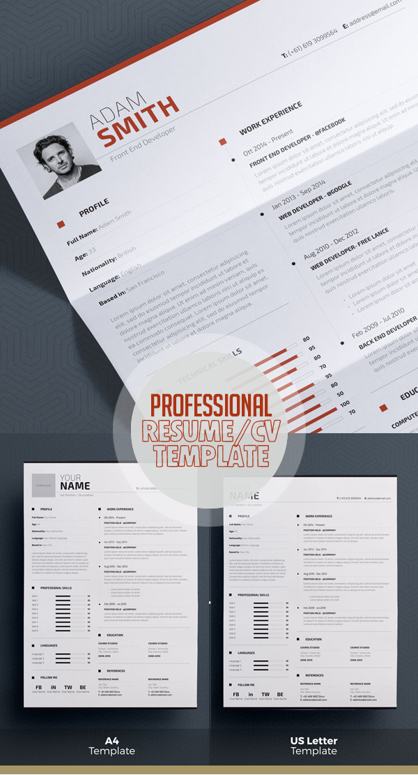 Professional Resume Template   Word + Indesign  Portfolio Word Template