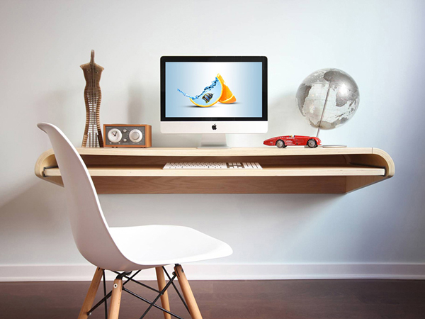 Free Floating desk with iMac Mockup
