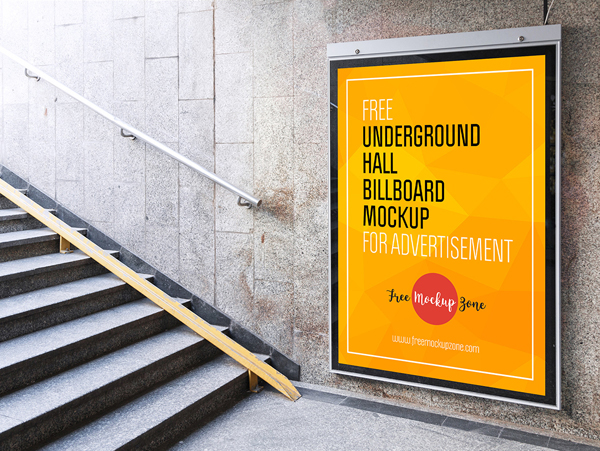 Free Underground Hall Billboard Mockup For Advertisemen