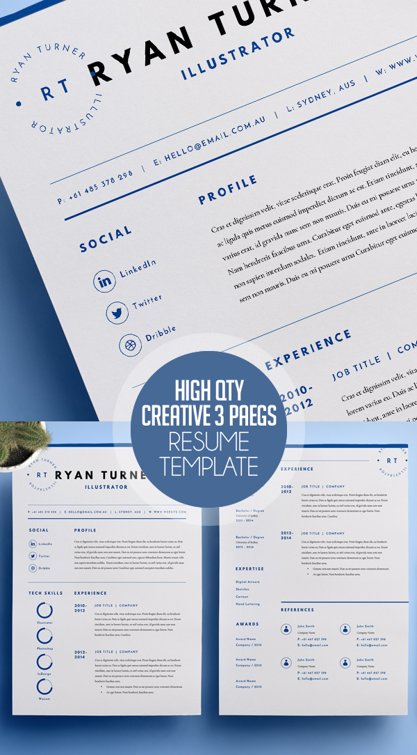 high quality creative resume template 3 pages