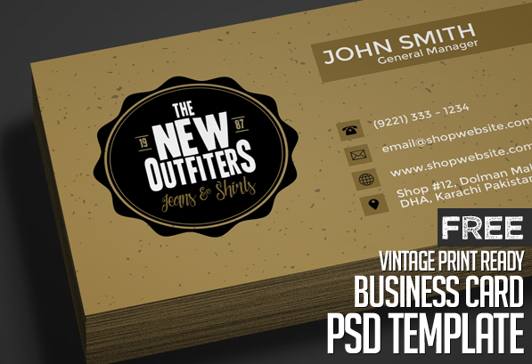 Freebie Vintage Business Card Psd Template Freebies Graphic