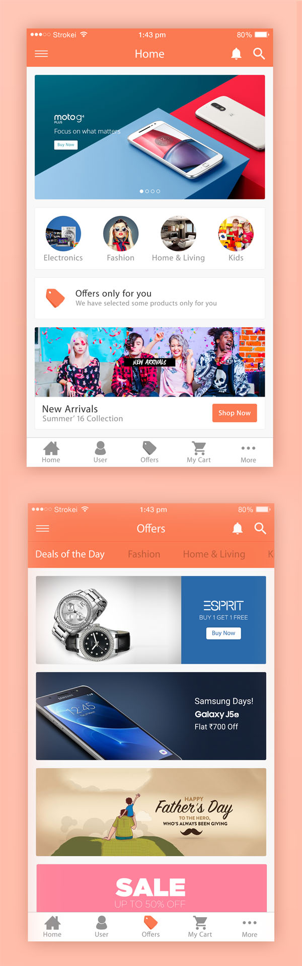 Free eCommerce iPhone 6 App UI PSD Templates