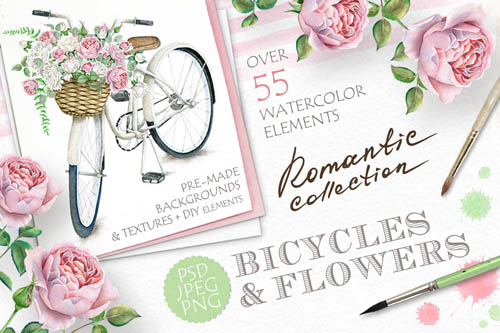 Watercolor Bicycle and Flowers