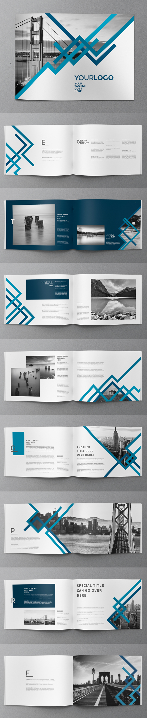 24 Pages Blue Stripes Brochure Template