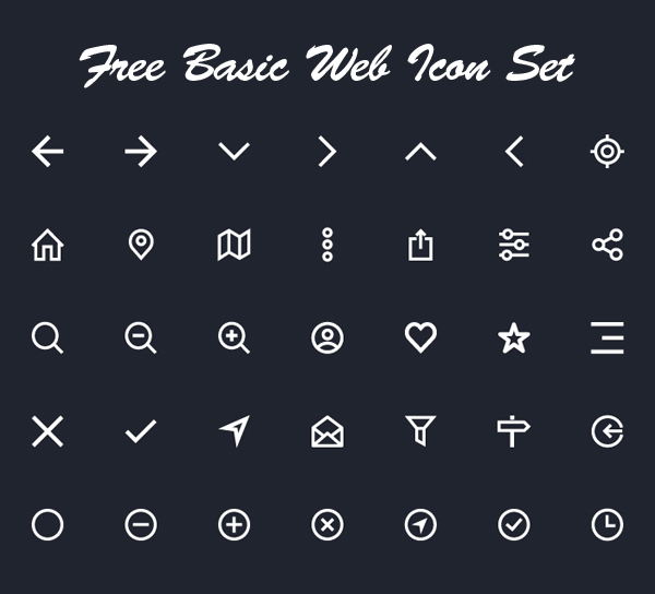 Free Basic Web Icon Set (34 Icons)
