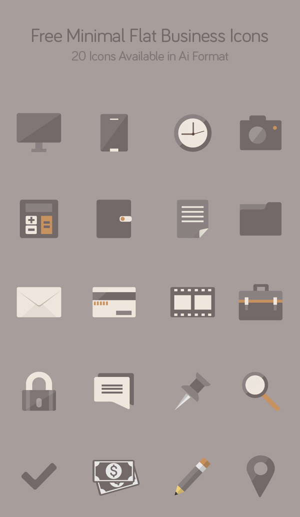 Free Minimal Flat Business Icons