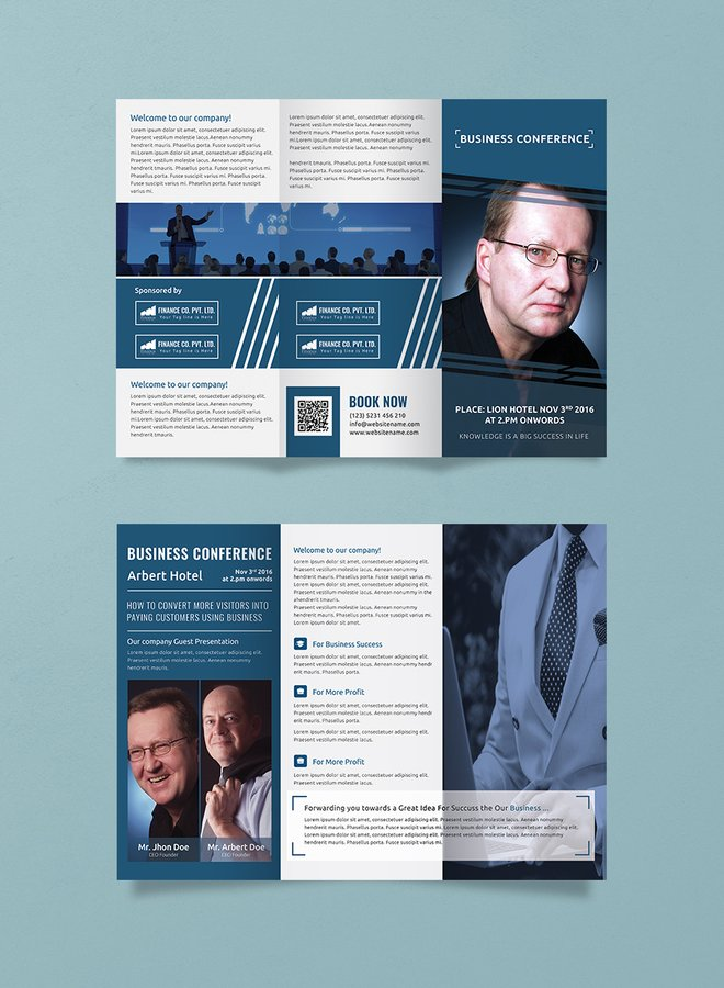 Business Conference A3 Tri-Fold Brochure Template