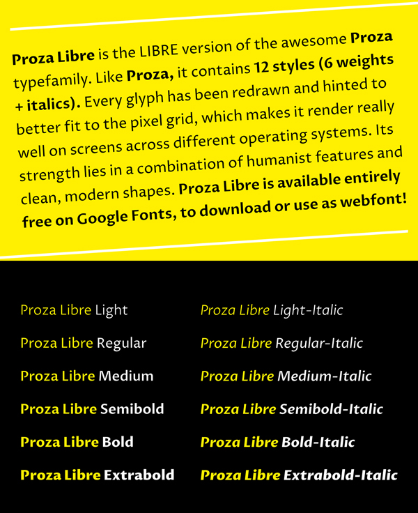 Proza Libre fonts and letters
