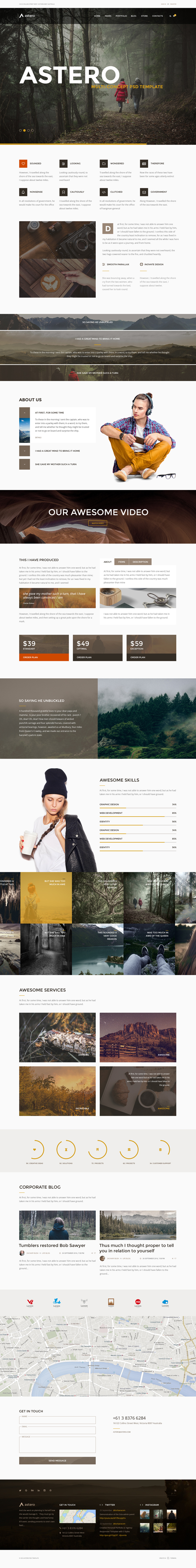 Astero - Multipurpose Portfolio, Blog, Store PSD Template