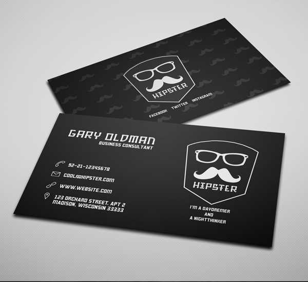 Freebie – Hipster Business Card PSD Template Dark Version