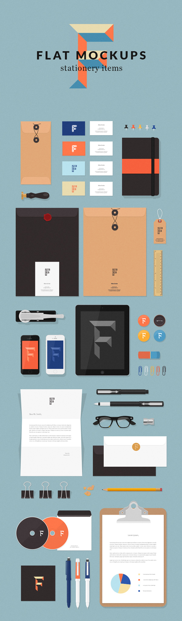 Free Flat Stationery MockUp Items