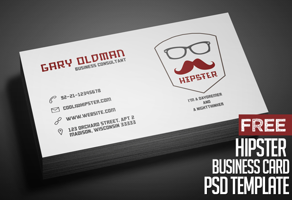 Freebie hipster business card psd template freebies for Read write think postcard template