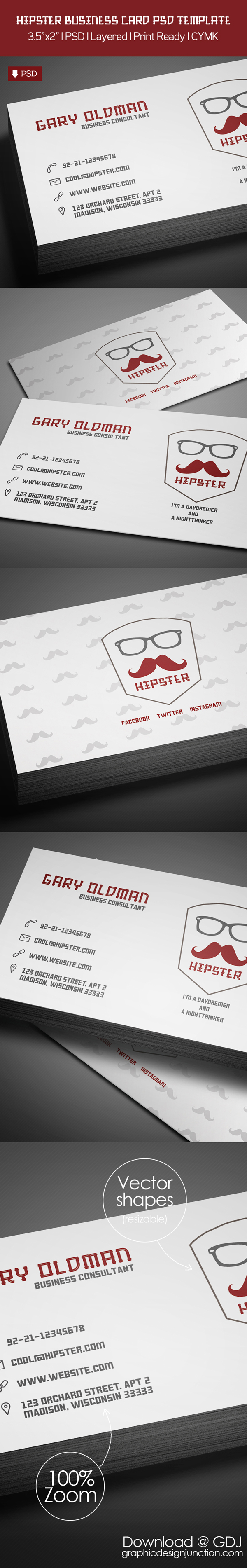 freebie – hipster business card psd template freebies