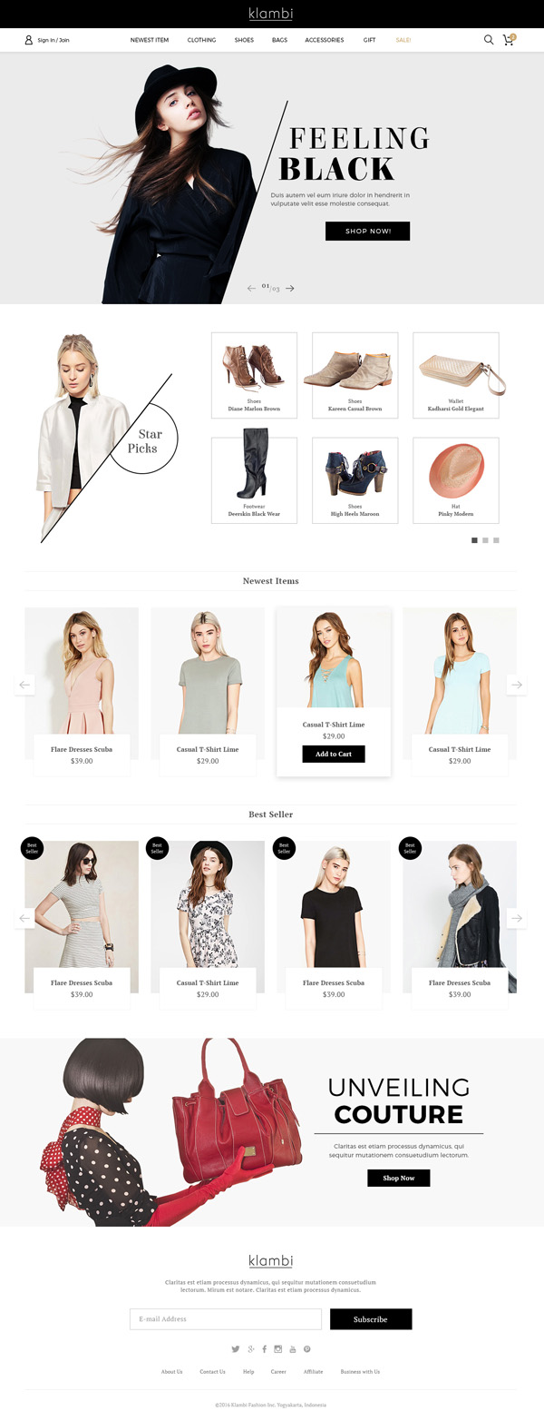 Klambi e-Commerce Fashion Template PSD
