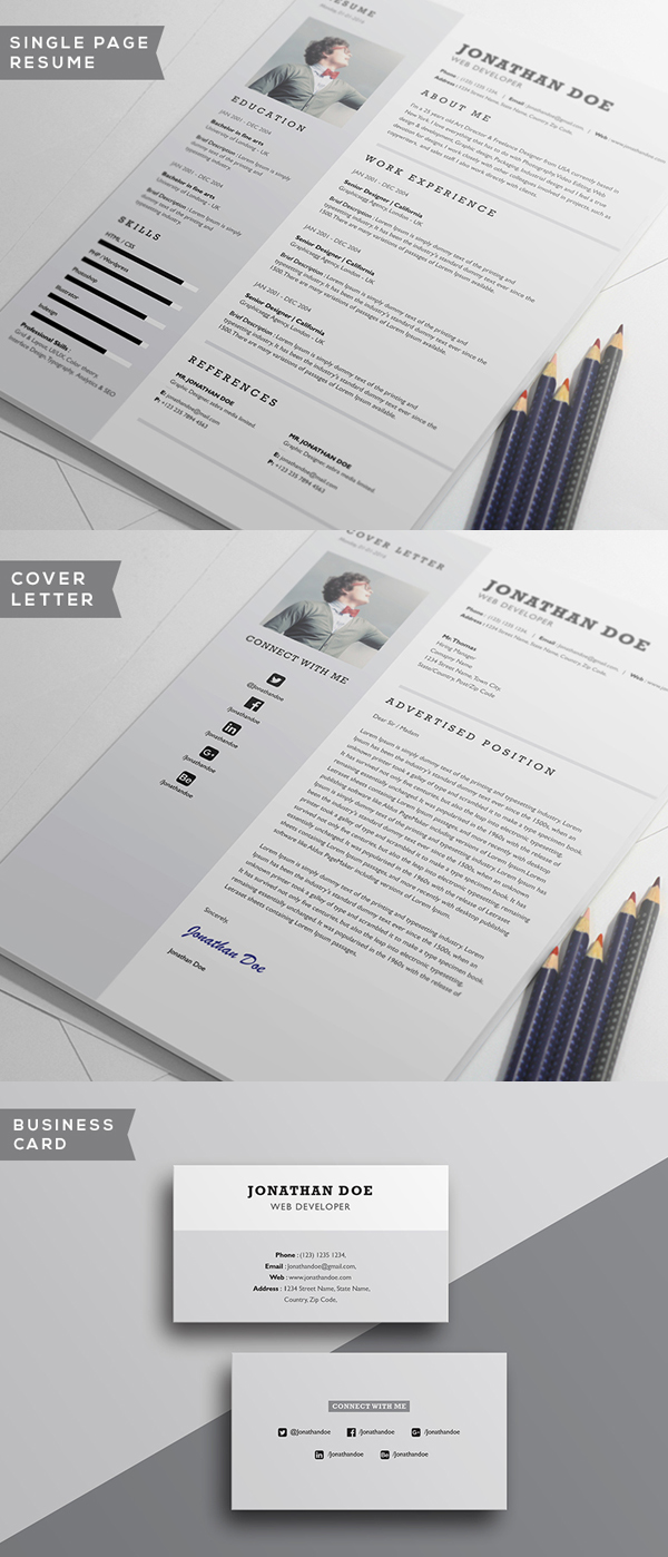 Free Minimalistic CV/Resume Templates With Cover Letter Template   11  Templates For Cover Letters