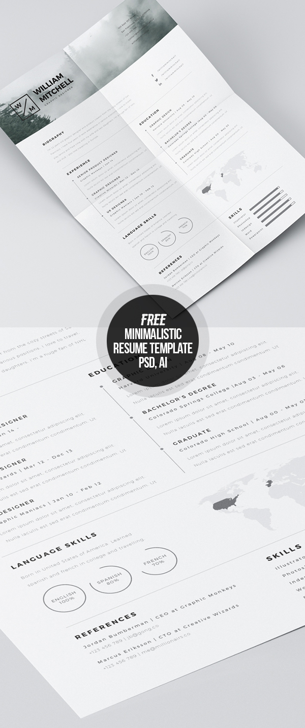Free Minimalistic CV/Resume Templates With Cover Letter Template   20