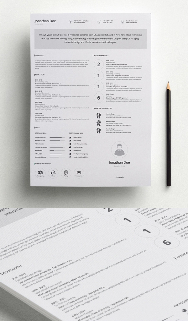Free Minimalistic CV/Resume Templates With Cover Letter Template   4