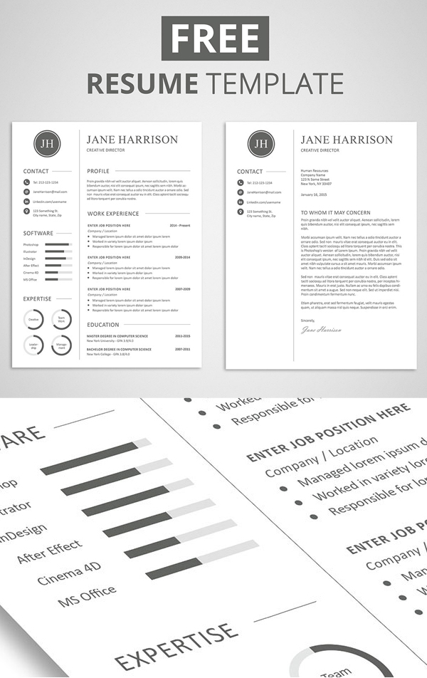 Free Minimalistic CV/Resume Templates with Cover Letter Template - 5