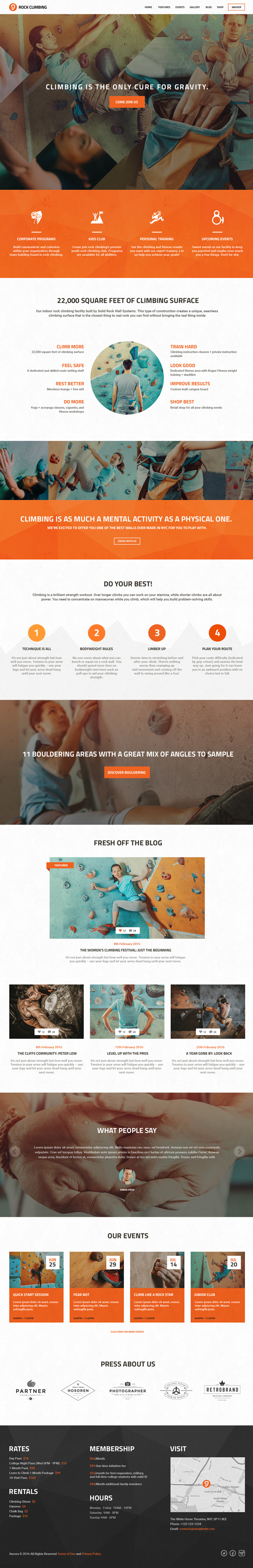 Rock Climbing - Climbing Wall & Sport Club WP Theme
