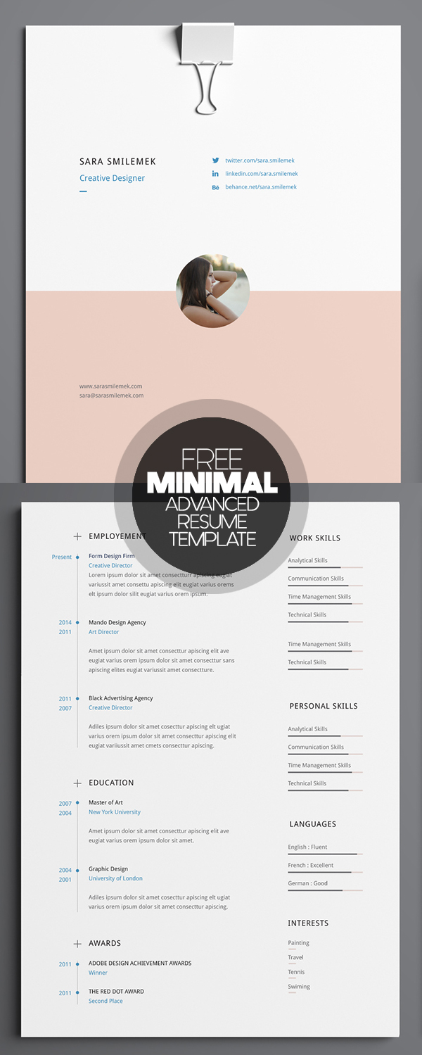 free minimal advanced resume template. Resume Example. Resume CV Cover Letter
