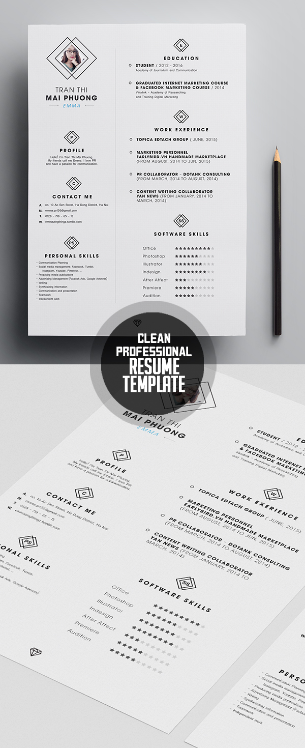 Professional Free Resume Template  Clean Resume Templates