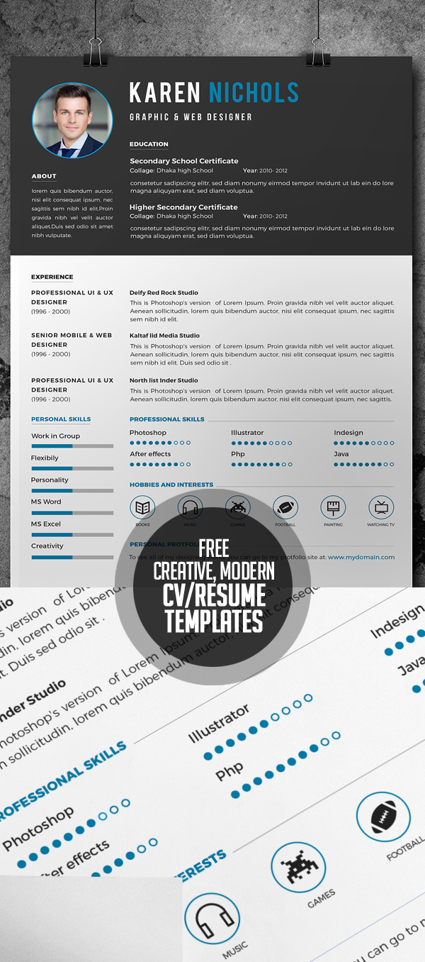 17 Free Clean Modern Cv / Resume Templates (Psd) | Freebies