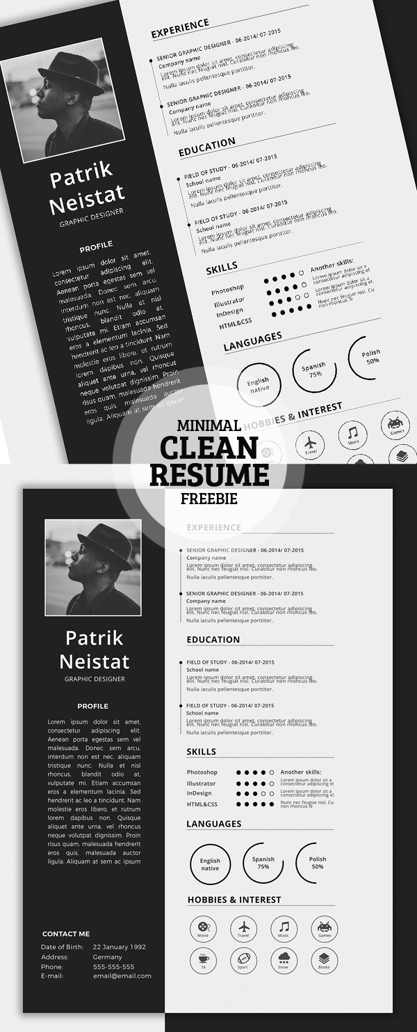 17 free clean modern cv resume templates psd freebies