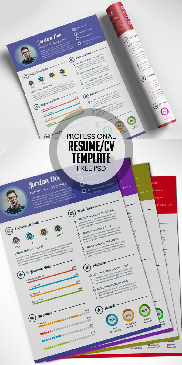 17 free clean modern cv resume templates psd freebies free professional resume cv template free psd yelopaper Image collections
