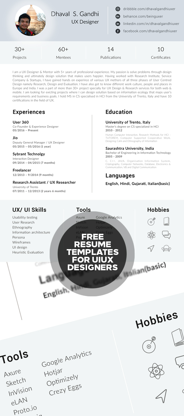 Free Resume Template For UI UX Designers
