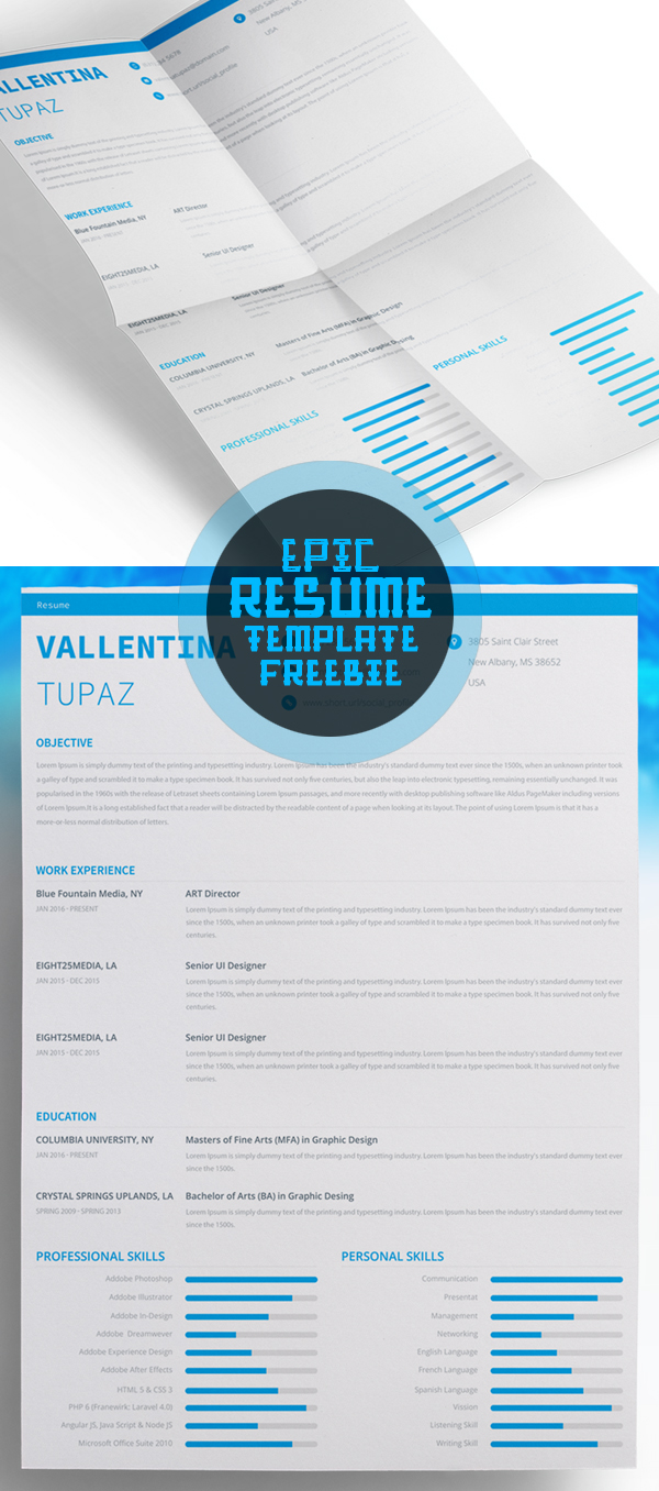 Free Epic Resume Template (PSD)