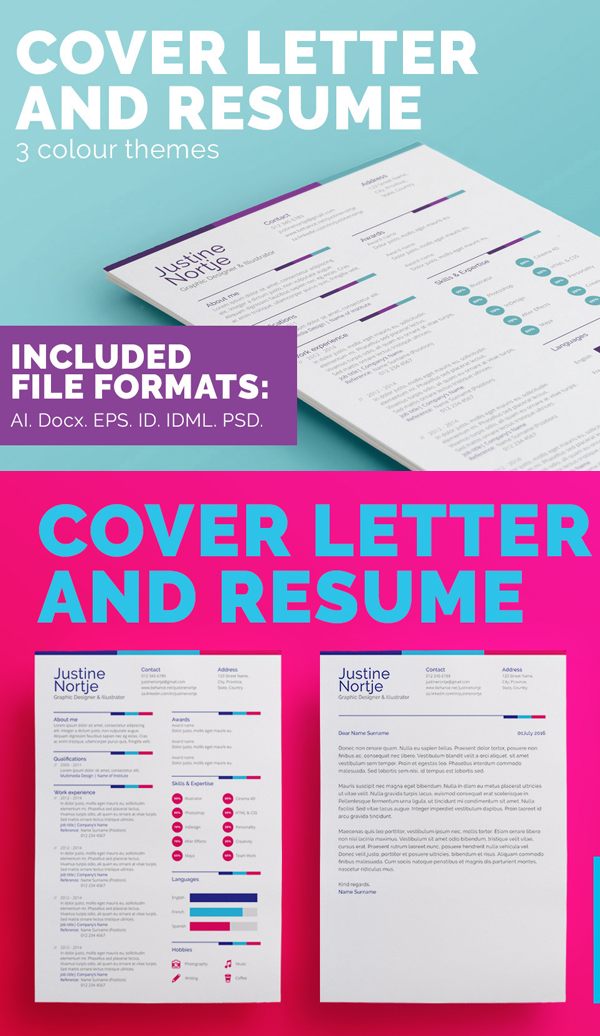 New Modern Cv / Resume Templates With Cover Letter | Design