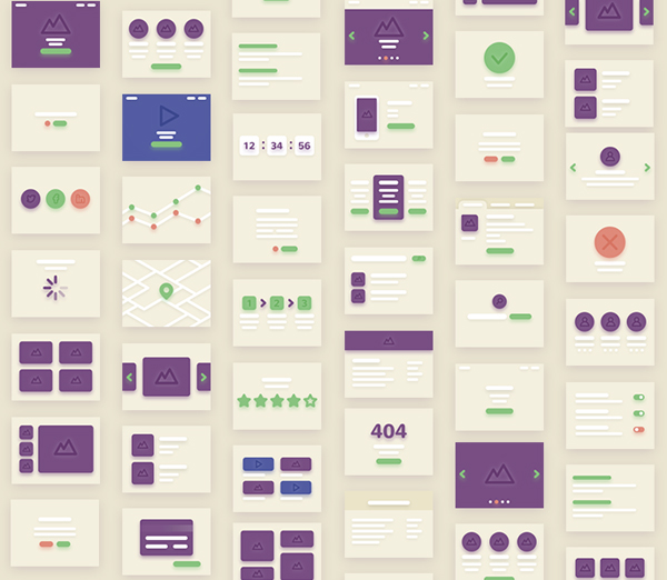 Free UI kit of 38 vector cards for Flowcharts