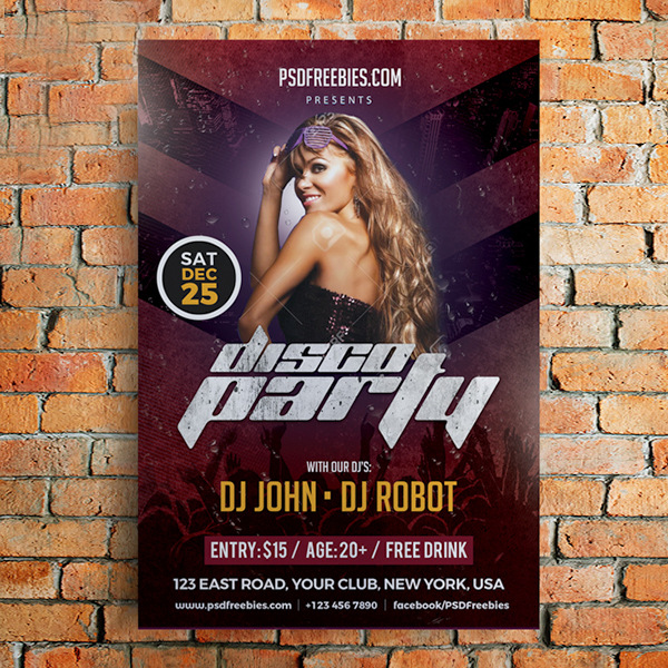 Free Party Poster Flyer Template PSD