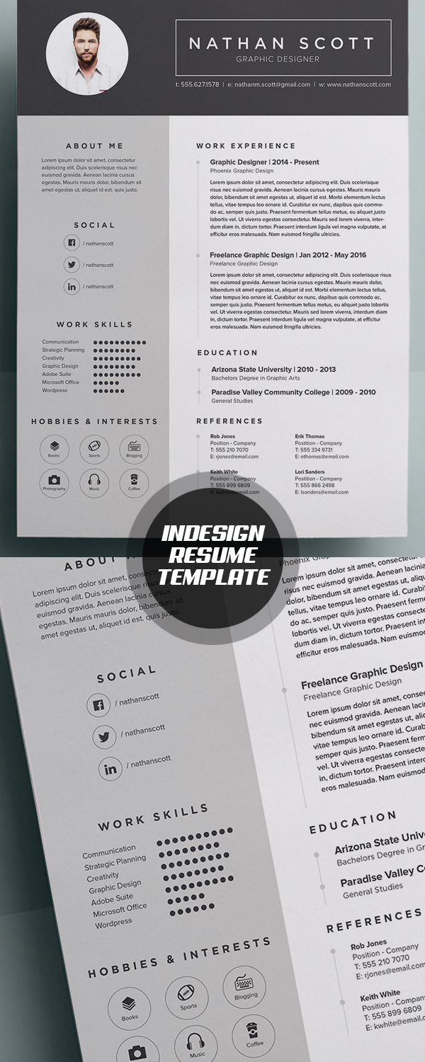 modern indesign resume template - Graphic Design Resume Template