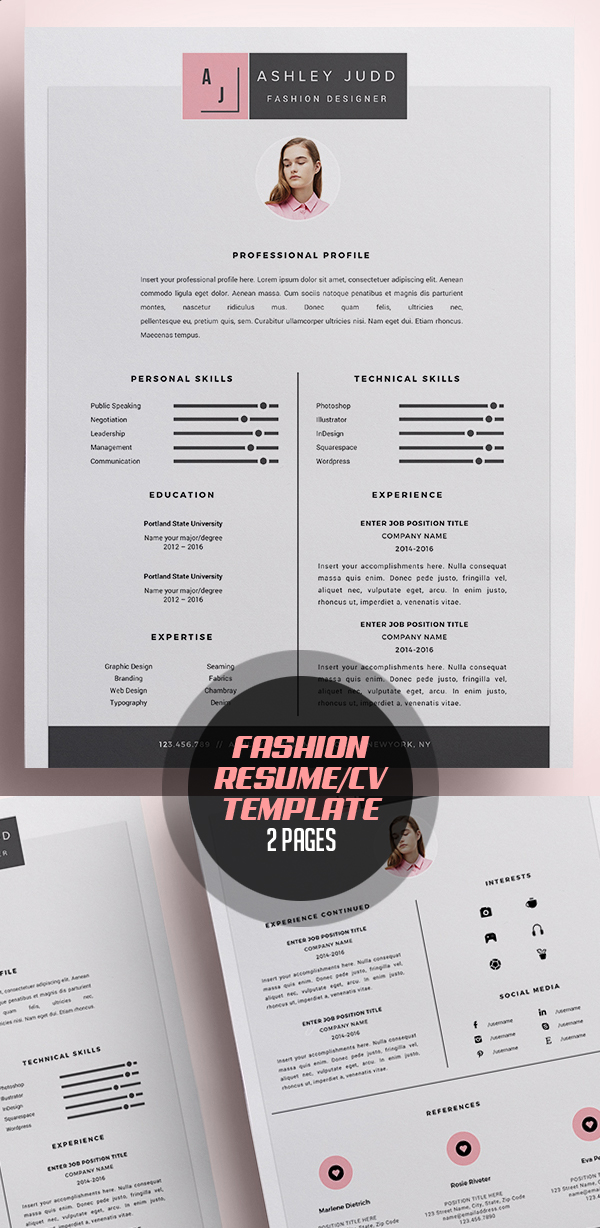 Fashion Designer Resume Template /CV