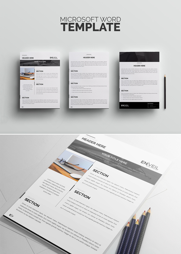 Free Microsoft Word Template A4 PSD Mockup Template