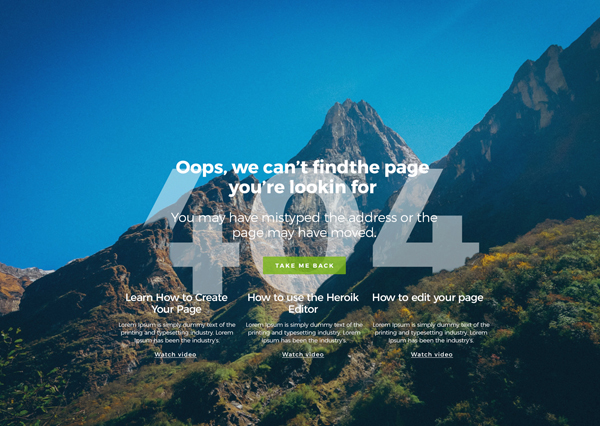 Free 404 Landing Page PSD and HTML