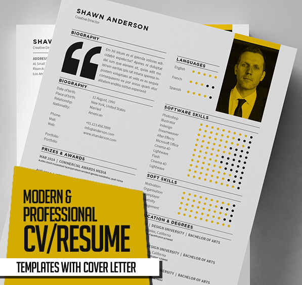 New Modern CV Resume Templates With Cover Letter