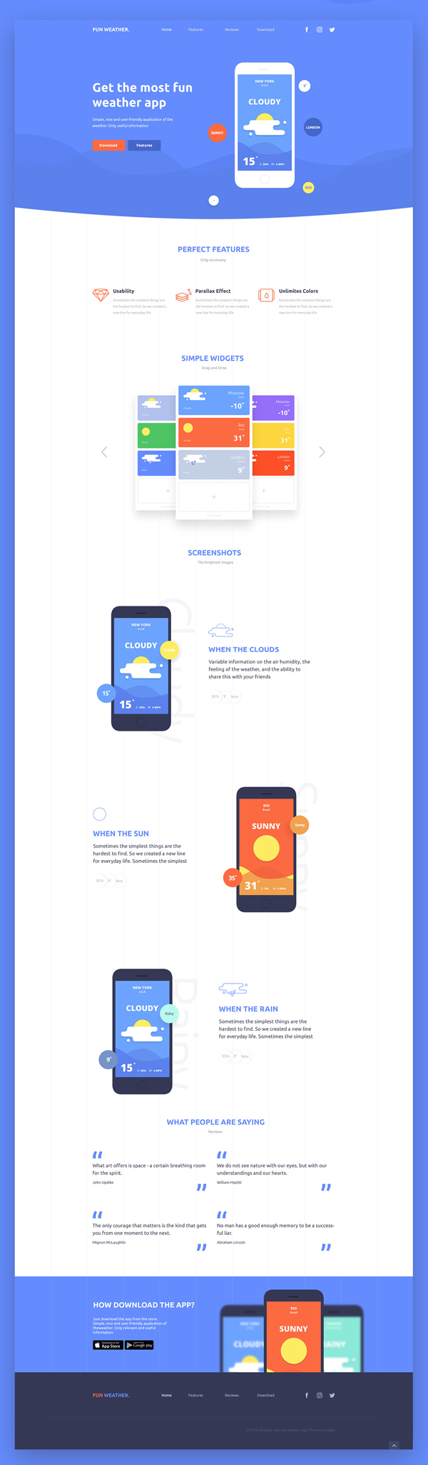 Free PSD Landing Page (Weather App)