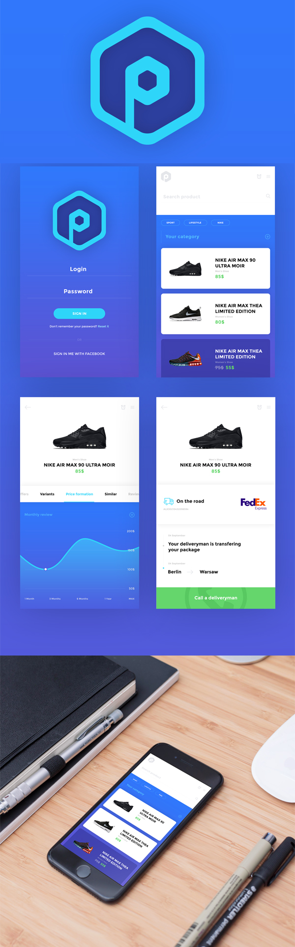 Pricifer Mobile App Free PSD