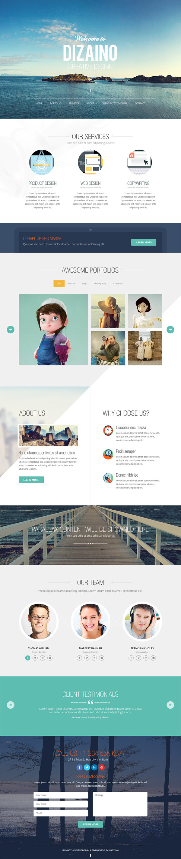 One Page Free PSD Template