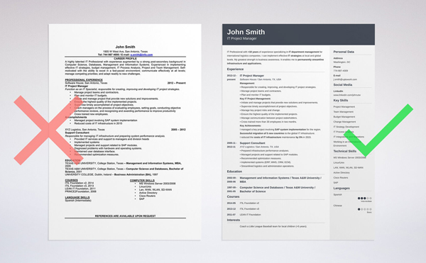 right vs wrong example - Online Resume