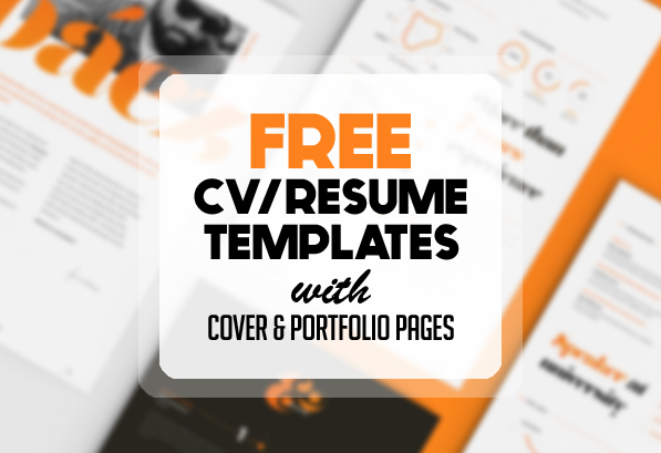 19 Free Creative CV / Resume Templates With Cover U0026 Portfolio Pages  Resume Cv